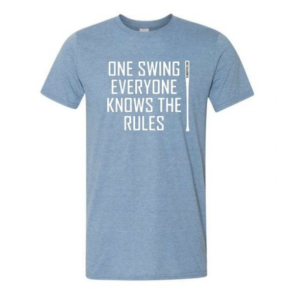 FungoThis One Swing Everyone Knows The Rules T-Shirt Heather Blue