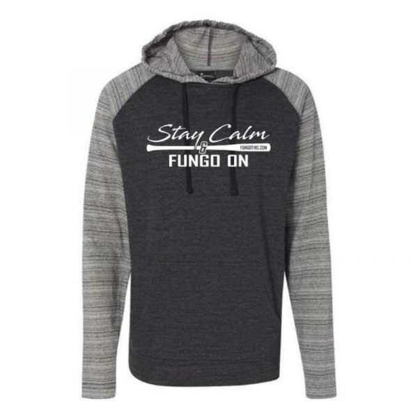 Stay Calm and Fungo On Lightweight Hoodie Red Black Lightweight Hoodie Heather Charcoal