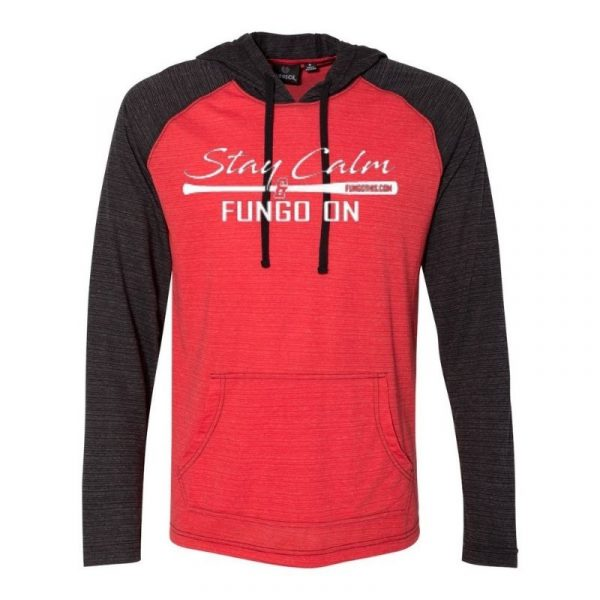 Stay Calm and Fungo On Lightweight Hoodie Red Black Lightweight Hoodie Red Black